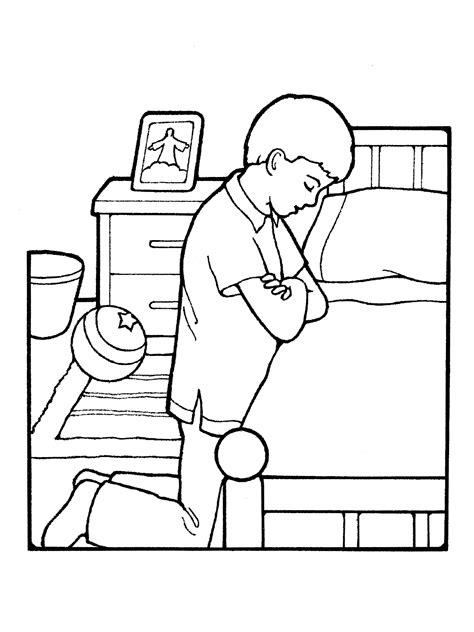 lds coloring pages praying boy praying at bedside