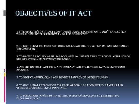 Of It by Objectives Of It Act 2000