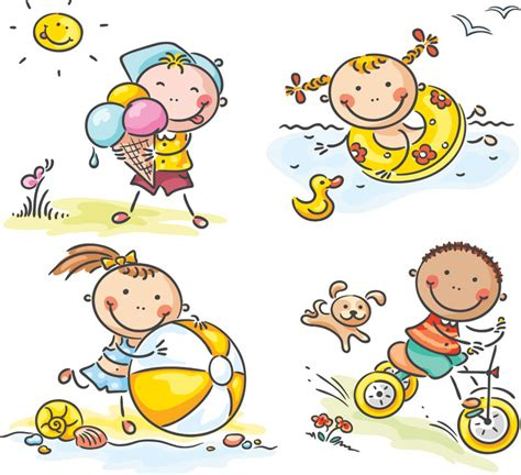 clipart bimbi summer illustrations vector vector graphics