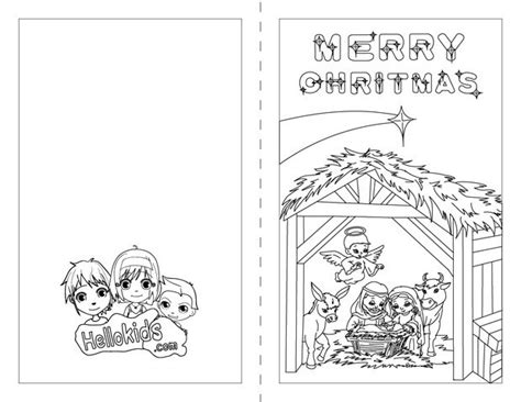 printable christmas cards for kids to color nativity scene coloring pages hellokids com