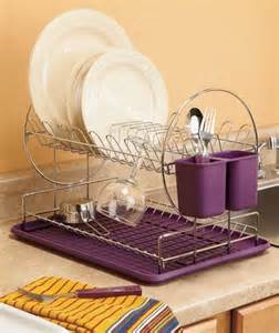 modern 2 tier dish drying rack organizer eggplant purple