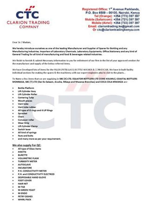 Introduction Letter Of A Trading Company Clarion Introduction Letter 2014 By Clarion Trading