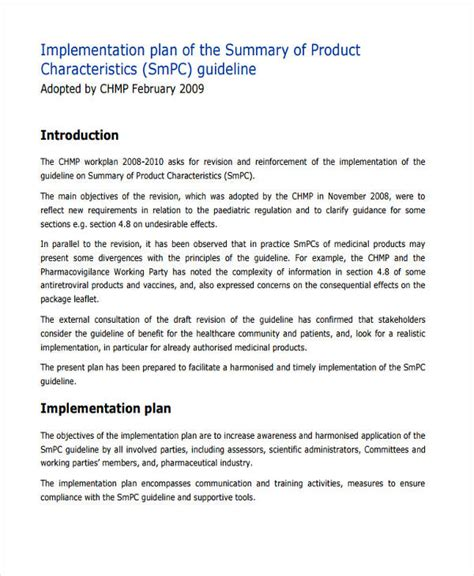 product implementation plan template product implementation plan template gallery template
