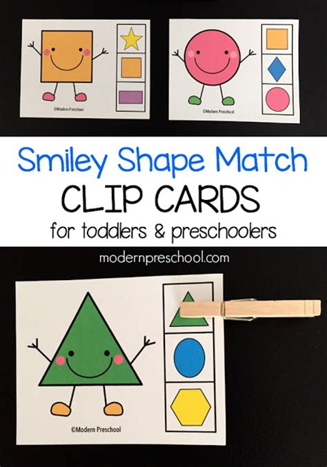 printable shapes matching game shape match clip cards