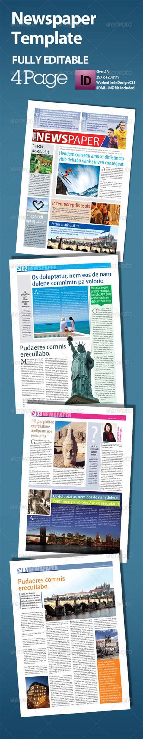 photoshop a3 layout graphicriver newspaper template a3 format 4 page avaxhome