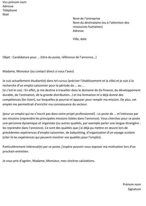 Lettre De Motivation Emploi Mairie Saisonnier Lettre De Motivation Pour Un Emploi Saisonnier Un Exemple Gratuit Capital Fr