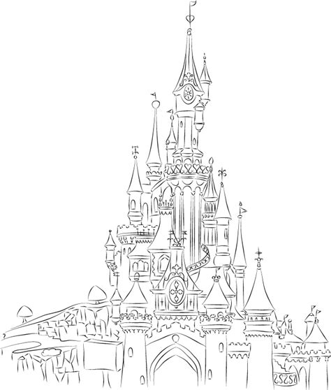 castle of disney world line drawing tattoo inspiration disneyland paris castle line art by chk deviantart com