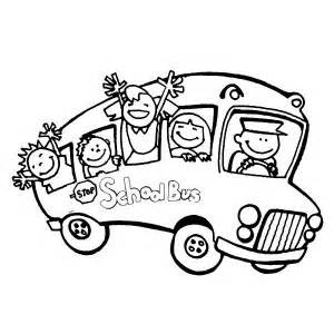 School bus full of happy student on first day of school coloring page