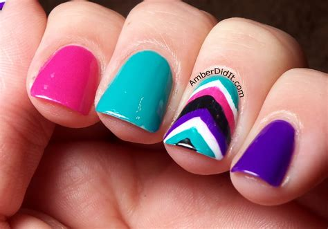 chevron pattern gel nails amber did it colorful chevron accent nails