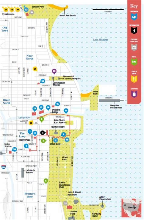 chicago map for tourists maps update 7001148 downtown chicago tourist map 15