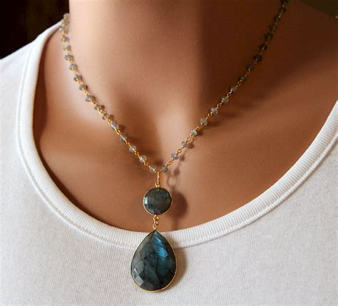 necklace with big labradorite pendant necklace grey rosary style