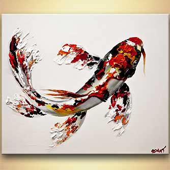 painting koi fish painting textured 8015