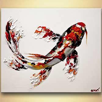 painting koi fish painting textured 8015