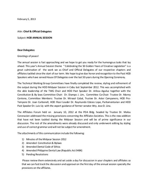 Recommendation Letter Greeting Hod Cover Letter To Delegates For Annual Session 2013