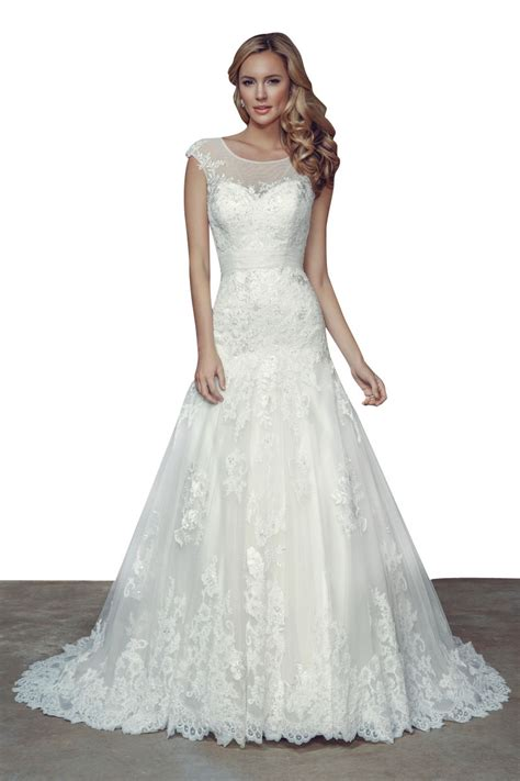 Wedding Dresses With Cap Sleeves by Vintage Cap Sleeves Sheer Back Floor Length A Line Lace