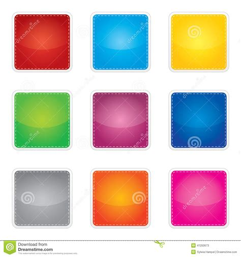 Set Of Colorful Glossy Blank Envelope Isolated On Colorful Set Of Blank Stickers Stock Vector Image 41250673