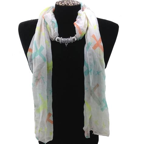 Scarves Import White sj019 white wholesale multicolor assorted size colors cross jewelry scarf kiwi china imports
