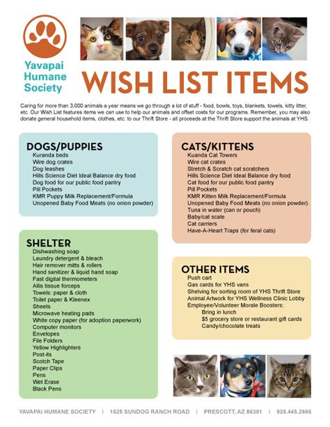 8 Items From My Wish List by Yavapai Humane Societywish List Yavapai Humane Society