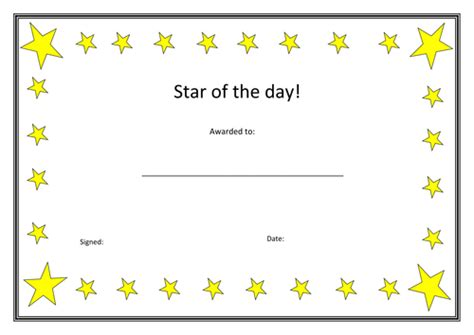 printable star of the day certificates star of the day certificate by wintersnow765 teaching