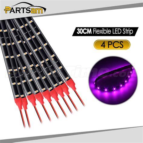 led light strips for cars exterior 4pcs pink purple led lights interior exterior glow