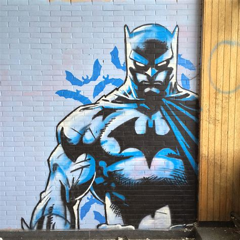 Superhero Wall Mural amazing batman graffiti art found in an abandoned building