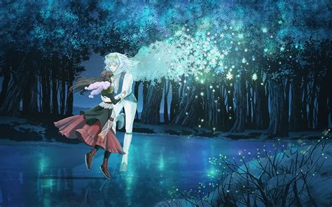 anime girl with fireflies art guy girl nature lake wings trees fireflies snowflakes