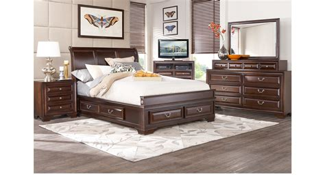 king sleigh bedroom set mill valley ii cherry 5 pc king sleigh bedroom with