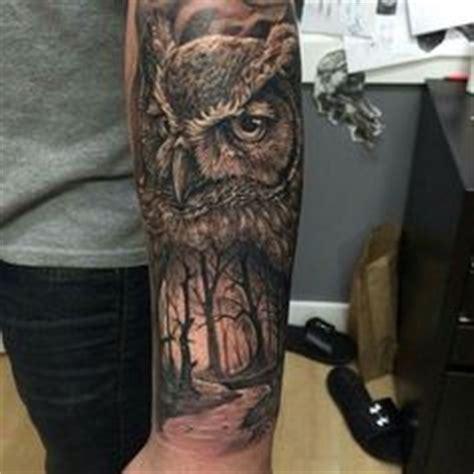 owl tattoo on leg calf by alex gallo deer in woods with realistic owl badass mens leg calf