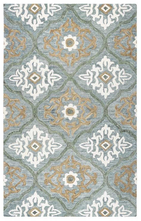 Quatrefoil Area Rug 8x10 Ornate Quatrefoil Wool Area Rug In Blue Gray 8 X 10