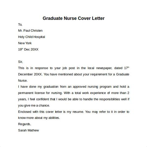 new grad cover letter nursing cover letter template 9 free sles exles