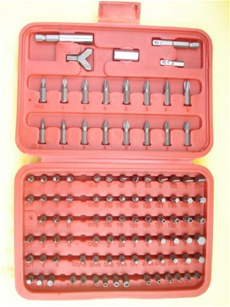 100 pc security bit ter proof set locksmith torx hex