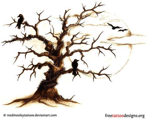 tree and ravens tattoo design tree tattoos palm tree of pine tree