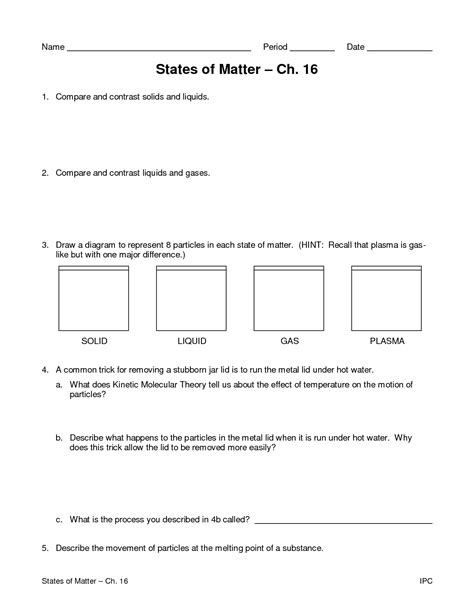 The Of The Matter Worksheet Answers by 12 Best Images Of Worksheets Matter States