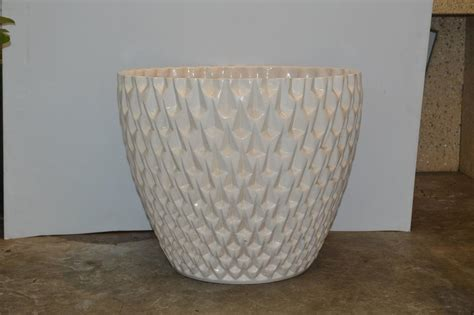 White Planters For Sale by Large White Glazed Planter By David Cressey