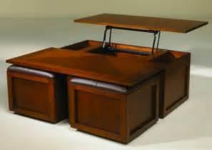 table basse relevable avec pouf