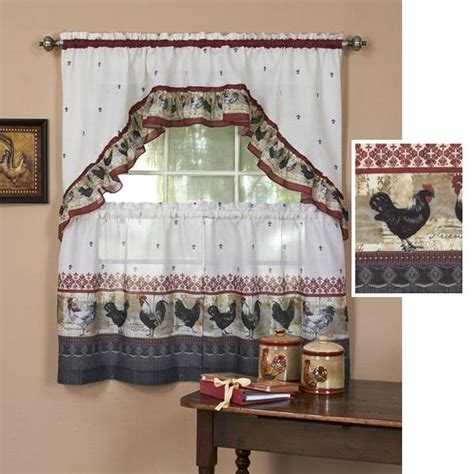 Fleur De Lis Kitchen Curtains 3 Pc Country Rooster Kitchen Curtains Tier Swag Set Rooster Fleur De Lis New Ebay