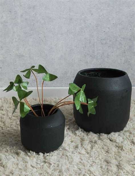 cement plant pot set of two by idyll home set of two black concrete plant pots at rose grey