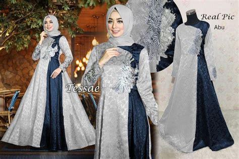 Baju Pesta Anak Balita Dress Brukat Biru Free Bandana gamis pesta terbaru jaguard tessae abu model baju gamis terbaru