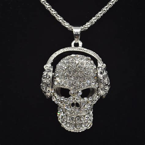 Earbuds As Jewelry by Vintage Skull With Headphones Necklace