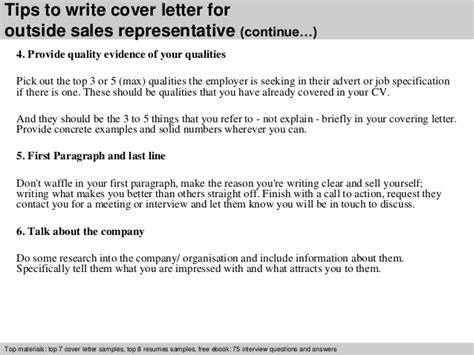 outside sales cover letter outside sales representative cover letter