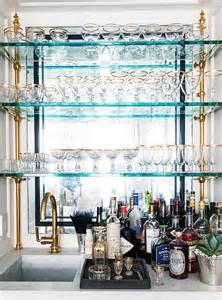 glass and brass bar shelves transitional kitchen