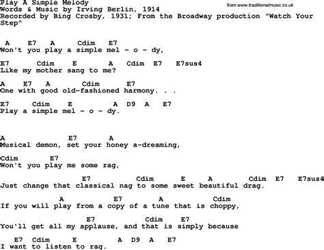 melody lyrics song lyrics with guitar chords for play a simple melody