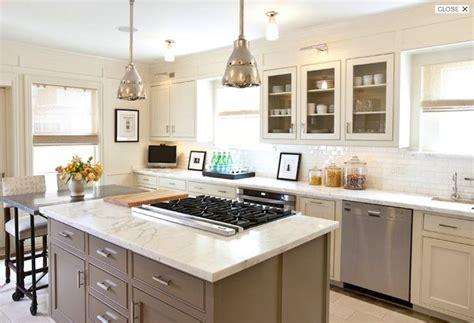 kitchen island cooktop two tone white taupe kitchen kitchen ideas