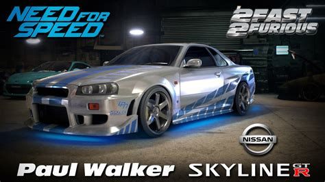 paul walkers nissan skyline drawing need for speed 2015 2 fast 2 furious brian s nissan
