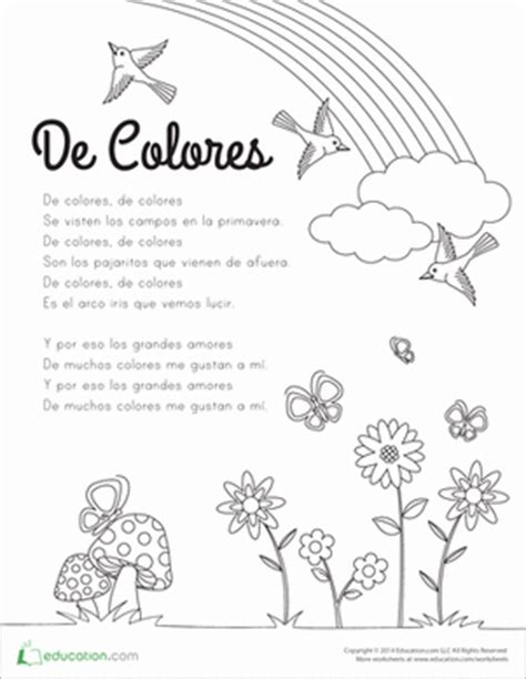 de colores lyrics worksheets education