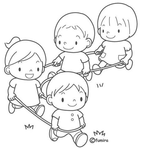 imagenes de niños jugando en grupo para colorear pinto dibujos ni 241 as jugando con la cuerda para colorear
