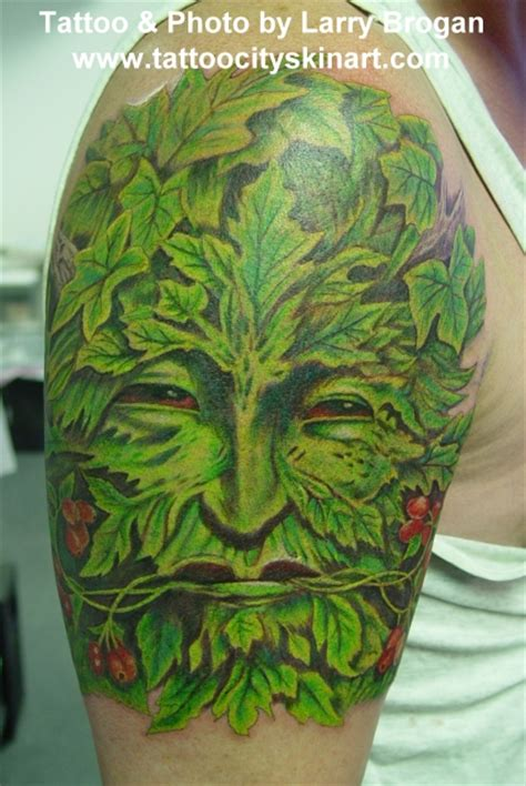 green man tattoo city skin studio tattoos flower green
