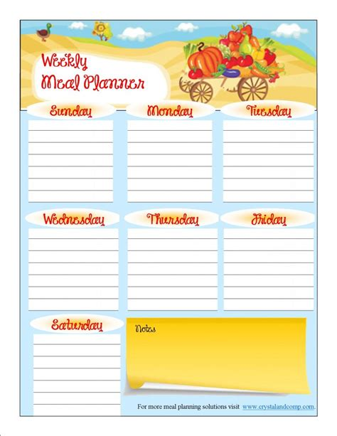 printable meal planner for toddlers free printable meal planner october