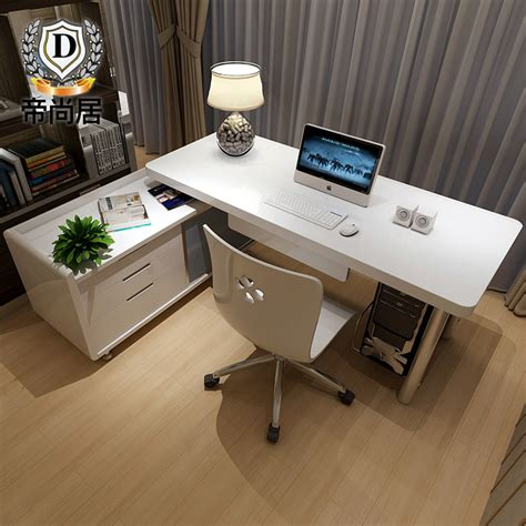 simple desktop computer desk home office table bookcase