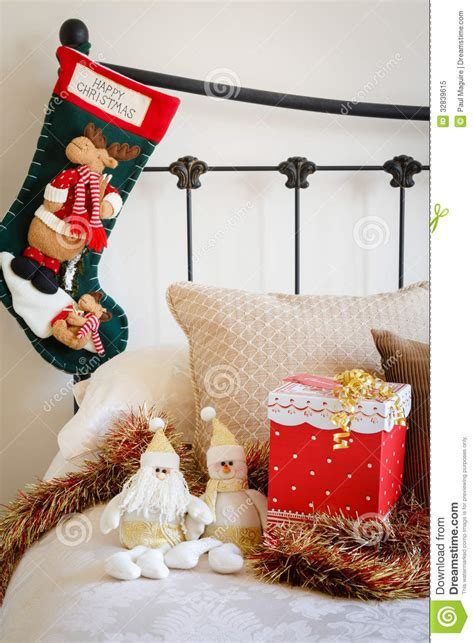 Interior Design For Living Rooms by Christmas Stocking On Bed Royalty Free Stock Photo Image
